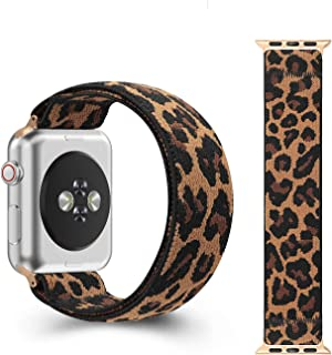CreateGreat Elastic Bands Compatible with Apple Watch 38MM,40MM,42MM,44MM, Double Side Elastic Pattern Stretch Bands for 2019 iWatch Series 5 4 3 2 1