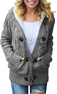 Womens Hooded Cardigans Button Up Cable Knit Sweater Coat Outwear with Pockets