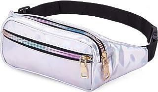 کیف های کمر Bwiv Fanny Pack برای زنان براق کمر هولوگرافی براق ضد آب برای مهمانی جشنواره سفر Rave Hiking