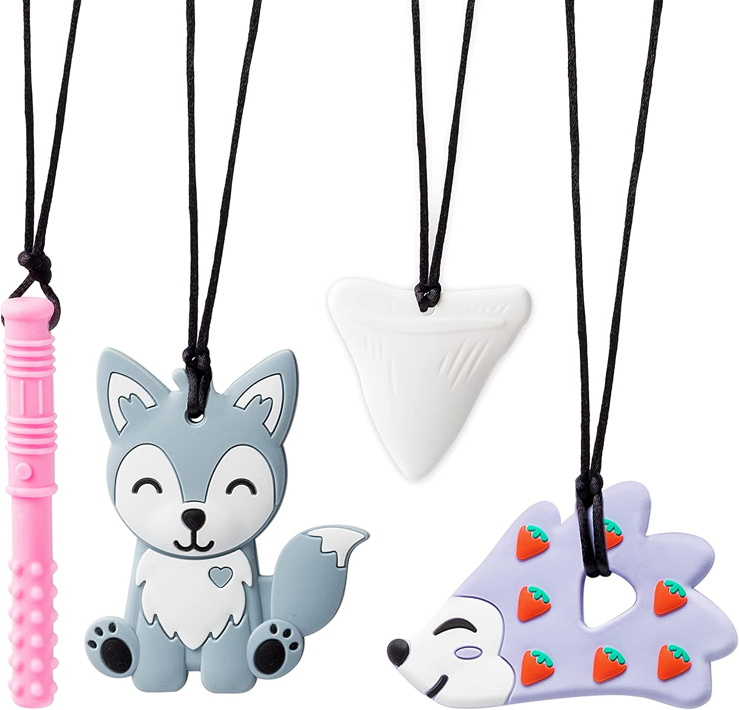 GROBRO7 4Pcs Sensory Chew Necklaces Shark Tooth Teethers Food Grade Silicone Teething Chewing Toy Hedgehog Husky Chewable Pendant Chewy Tubes for Infant Nibble Oral Motor Autism ADHD Boys Girls Kids