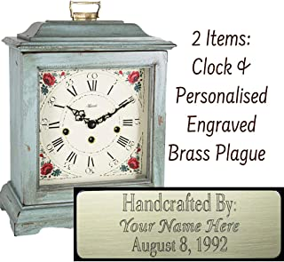 Qwirly Store: Austen Mechanical Mantel Clock by Hermle 22518LB0340 & Personalized Engraving Brass Plaque - Classic Decorative Antique Style Table Clock with Westminster Chime Movement - Light Blue