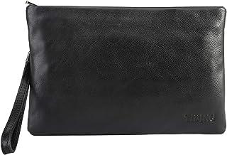 [TIDING(タイディング)] カーフレザー 子牛革 本革 メンズ セカンドバッグ クラッチバッグ iPadmini対応 チェーン付き 撥水 パーティー ビジネス 黒 鞄