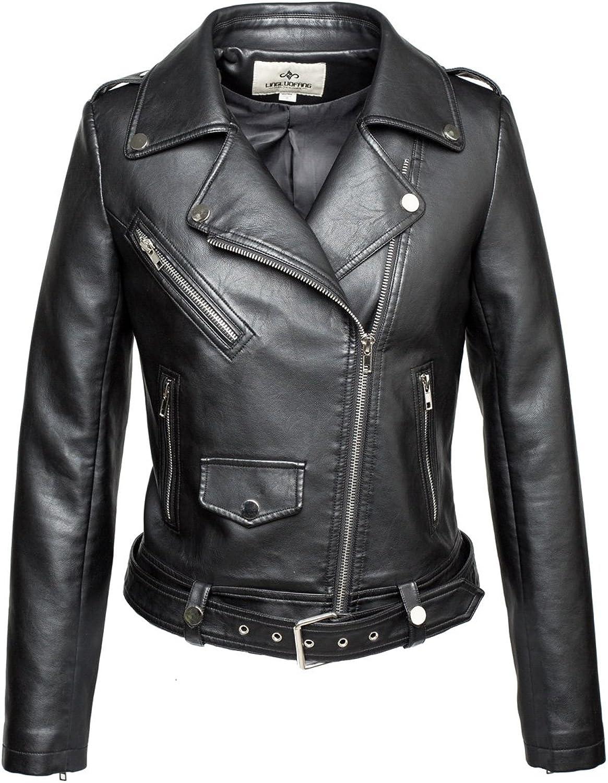 LingLuoFang LLF Women's Faux Leather Moto Biker Short Jacket with Belt