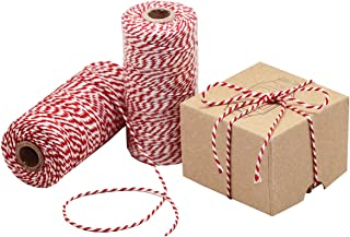 Natural Cotton Bakers Twine Red & White 100M (328 Feet), Packing String, Durable Rope for Gardening, Decoration, Tying Cake and Pastry Boxes, DIY Crafts & Gift Wrapping, for Art and Craft