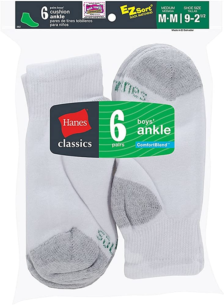 Hanes Classics Boys' Ankle EZ Sort Socks 6-Pk - 362/6