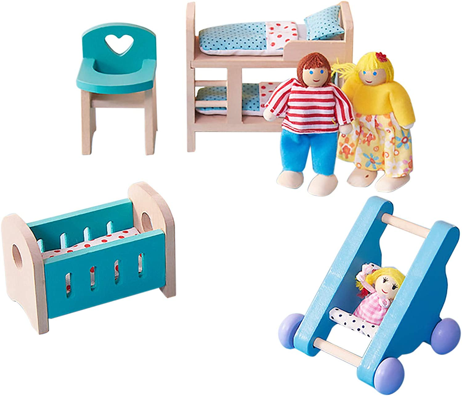 GIFZES Wooden Doll Toy House Furniture,Kids Doll Toy House Furniture,Baby Room Set Miniature Models DIY Assembled Toys with Chair Bed Stroller Pretend Play Kids Toy
