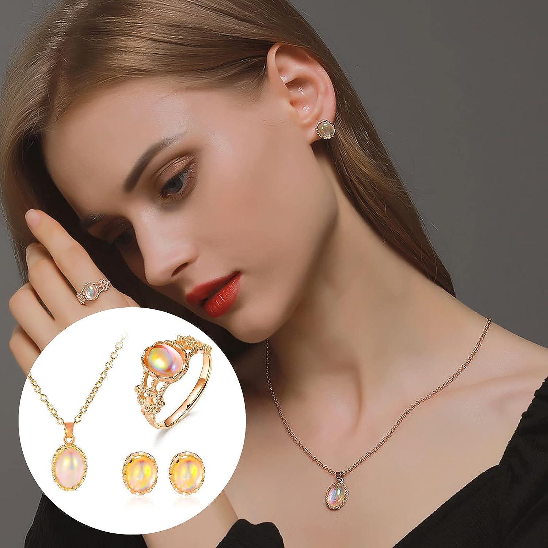 Necklace Ring Earring Set Women Elegant Earrings Charm Jewelry Pendant Set (Earring+Necklace+Ring)