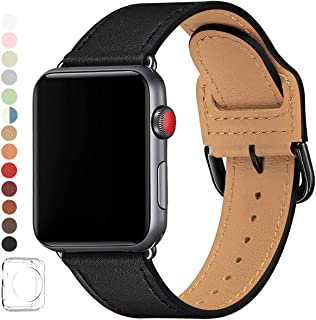 LOVLEOP バンド コンパチブル Apple Watch バンド 42mm 44mm ,トップレザー交換用ストラップ ,のために適したiWatch Series 5 Series 4 Series 3 Series 2 Series 1 (42mm 44mm, 黒 バンド+黒 い バックル)