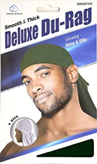 Dream Deluxe Du-Rag Green - Smooth & Thick, Superior Quality, Stretchable, Wrinkle Free, 100% Polyester