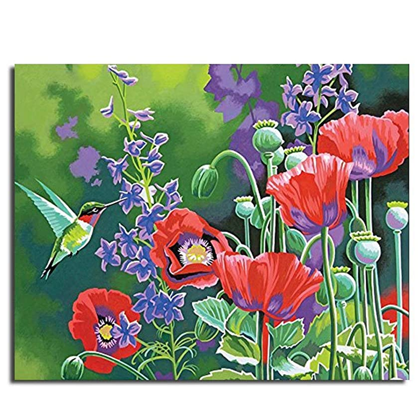 Colored Canvas DIY Oil Paint by Numbers for Adults and Kids Beginner with 6 Brushes 16