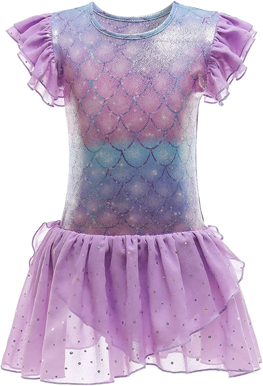 Freebily Kids Girls One Piece Ballet Dance Tutu Dress Short Sleeves Gymnastics Leotard