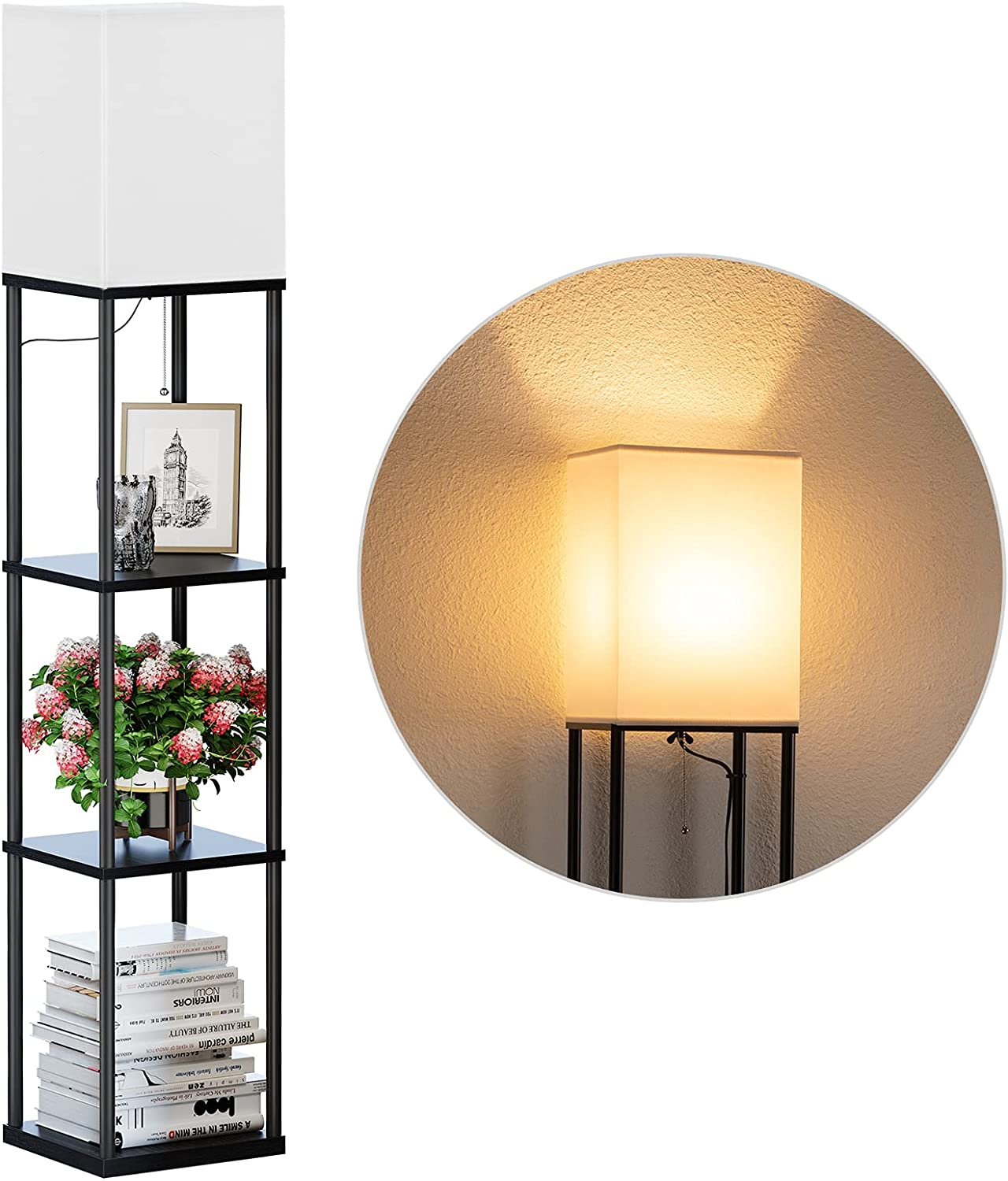 SUNMORY Shelf Floor Lamp with 3-Way Dimmable LED Bulb, Modern Square Standing Lamp with Shelves and White Shade, Corner Display Bookshelf Lamp for Living Room and Bedroom(Black)