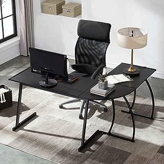 UnaFurni L Shaped Desk, L Corner Computer Desk for Workstation Home Office, Black