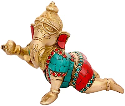 Idol Collections Crawling Baby Ganesh Statue Hindu Success Lord Baby Ganesha Brass Turquoise Handmade Sculpture Idol Art