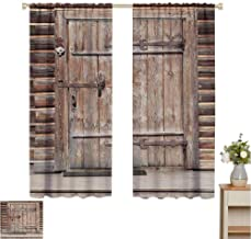 June Gissing Rustic Decor DIY Curtain for Living Room Timber Rustic Door in Wall of an Old Log House Ancient Abandoned Building Entrance Gate Print Fade Resistant Polyester Microfiber W55 x L39 Brown