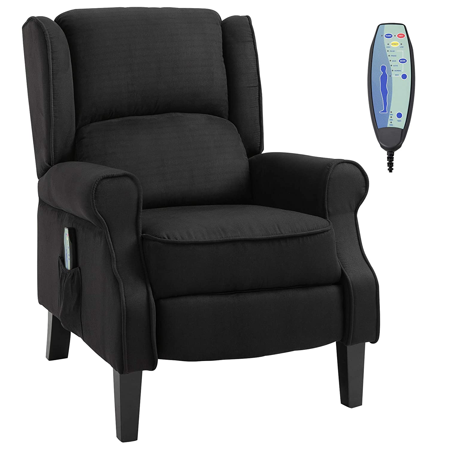 Best Massage Recliner: HOMCOM Wingback Heated Vibrating and Easily Reclinable Chair.