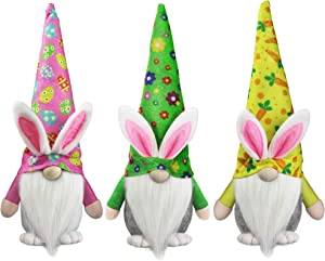 Tifeson Easter Bunny Gnome Plush Elf Decorations - 3PCS Handmade Swedish Rabbit Tomte - Spring Easter Gift, Home Table Ornament, Easter Day Home Decorations
