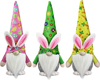 Tifeson Easter Bunny Gnome Plush Elf Decorations - 3PCS Handmade Swedish Rabbit Tomte - Spring Easter Gift, Home Table Orn...