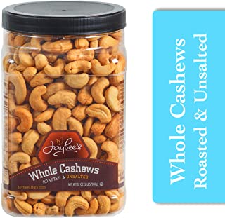 Jaybee's Unsalted Cashews Extra Large - Freshly Roasted - Great Healthy Snacks or Gift Giving- Reusable Container - Certif...