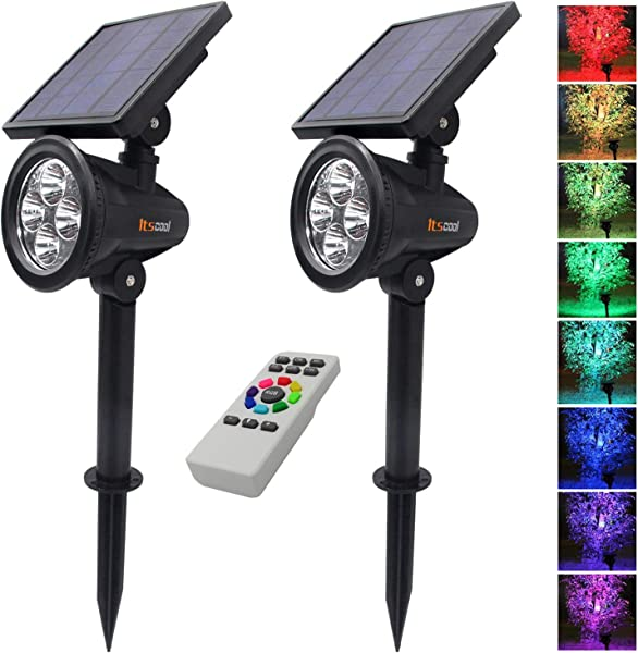 Itscool Solar Spotlights Outdoor Colored Landscape Lights 9 Colors Include White Auto Changing Or Fixed Single Color With Remote Control For Garden Waterproof Auto On Off Pack Of 2