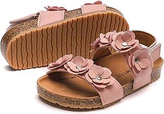 Komfyea Girl's Fashion Floral Strap Sandals Flat Summer Beach Sandals Shoes(Toddler/Little Kid)