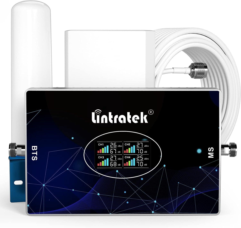 Lintratek Amplificador de señal para teléfono móvil 4 Cuatro Banda B7 900,1800,2100,2600 Repetidor gsm 2G 3G 4G 70dB Repetidores de señal de móviles Compatible con Movistar/Orange/Yoigo/Vodafone