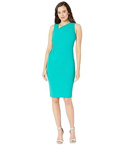Calvin Klein Asymmetric Neck Ruched Sheath Dress (Jungle) Women