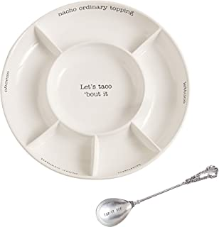 Mud Pie Taco bar Condiment Serving Platter, White