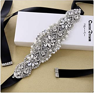 QueenDream Bridal Sash Rhinestone Belt with Black Ribbon for Wedding and Evening Dress bridesmaid dress