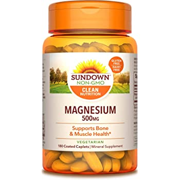 Sundown Magnesium, 500 mg (180 Coated Caplets) Mineral Supplement, Meets Daily Recommended Intake (Packaging May Vary), Vegetarian, Non-GMOˆ, Free of Gluten, Dairy, Artificial Flavors