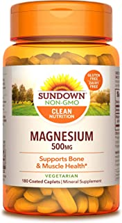 Sundown Magnesium, 500 mg (180 Coated Caplets) Mineral Supplement, Meets Daily Recommended Intake (Packaging May Vary)