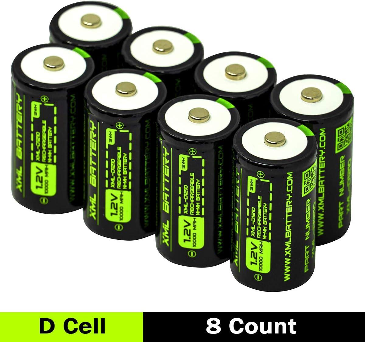 未使用品 8 Pack XML 高級 Battery 1.2v Ni-MH 10000mAh Rechargeabl AA Hi-Drain