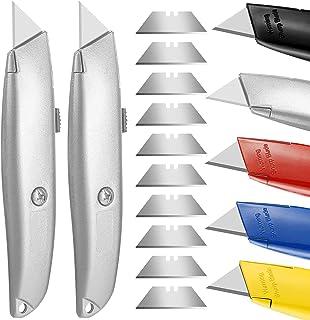 DIYSELF 2Pack Utility Knife Box Cutter Retractable Blade Heavy Duty Metal Utility Knife
