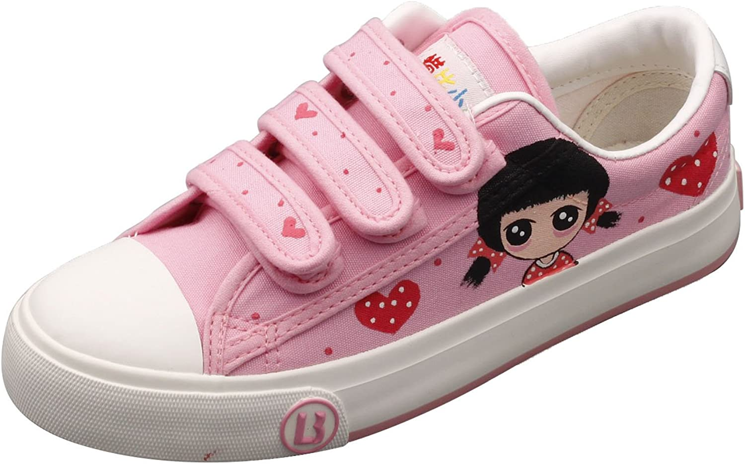 E-LOV Pink Cartoon Big Eyes Girl Hand-Painted Canvas shoes Low Cut Sneakers Hook and Loop Strap Personalized Casual shoes for Women and Men