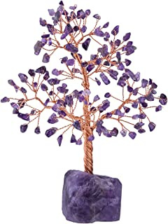 mookaitedecor Healing Gemstone Amethyst Crystal Tree, Natural Rough Stone Base Money Tree for Wealth and Luck 7-8.7 Inch