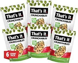 That's It. Plant Based Protein Snacks, Apple + Pumpkin Seeds Crunchables (6 Packs x 2.5oz) Deliciously Healthy and Light Diet, Non-GMO, Low Calorie Gluten Free Snack for Adult