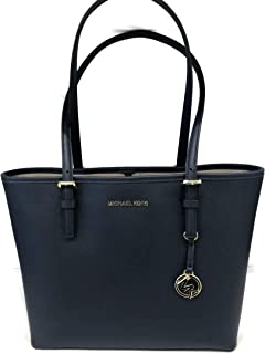 MICHAEL Michael Kors Jet Set Travel Medium Carryall Tote Saffiano Leather - Navy, Small