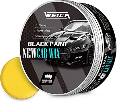 WEICA Car Wax Black Solid for Black Cars, Carnauba Car Wax Kit Cleaner, Car Waxing Scratch Resistance Auto Ceramics Coating 180g with Free Waxing Sponge and Towel-Black: image