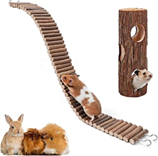 XIAO MO GU Hamster Suspension Bridge Toy,Natural Wooden Hamster Mouse Tunnel Tube Toy for Dwarf Syrian Hamster Mice Mouse ...