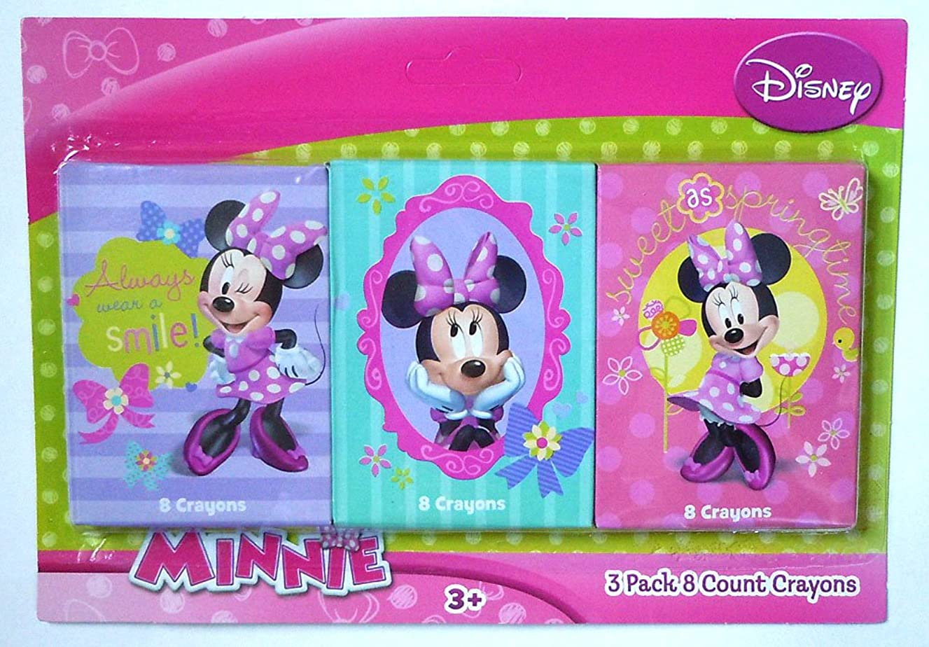Minnie Mouse Crayons - 3 Packs of 8 Crayons (Minnie Mouse)