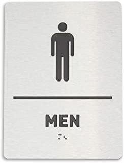 Men Restroom Identification Sign - ADA Compliant Bathroom Sign, Raised Icons, Raised Braille, Brushed Aluminum, TCO Inspection Certified - by GDS Architectural Signage