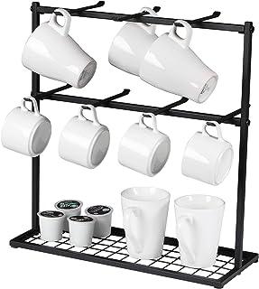 OROPY Porte-tasses avec base de rangement, Support organisateur de tasse à café en métal avec 14 crochets, Porte-gobelet v...