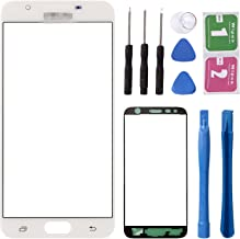 Replacement Repair Front Outer Top Glass Lens Cover Screen for Samsung Galaxy J5 Prime ON5 G5520 G5510 G5700 Mobile Phone Curved Surface Parts (NO LCD and Touch Digitizer) (White)