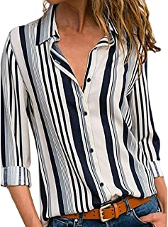 Ladies New fashion Casual Outdoor Home Daily tops Women Autumn Long Sleeve Striped Blouse