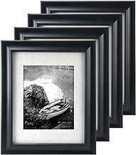 Malden International Designs Barnside Portrait Gallery Textured Mat Picture Frame, 8x10/11x14, 4 Pack, Black