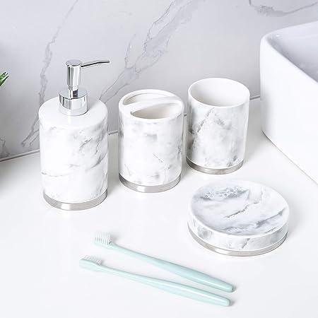 Schwänlein Ensemble de 4 accessoires de salle de bain en céramique, distributeur de savon, brosse de toilette, porte-savon et gobelet à brosses à dents Argenté