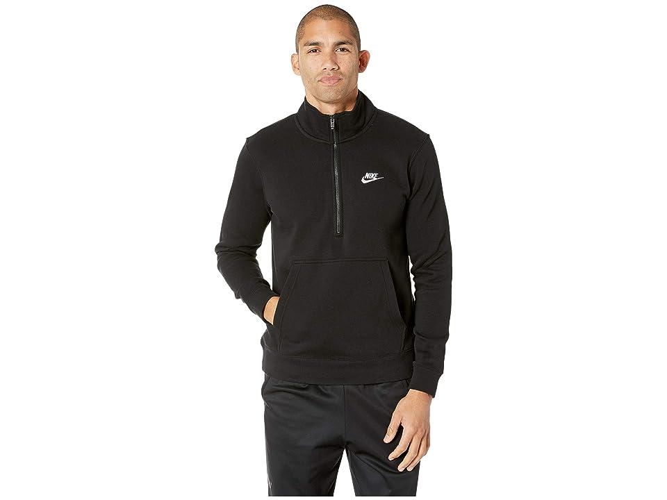 Nike NSW Club Top Long Sleeve 1/2 Zip Bb Trnd (Black/Black/Black/White) Men