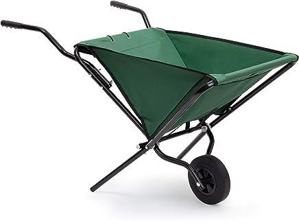 Relaxdays 可折叠式轮胎 66 x 64 x 112 厘米钢制折叠栏杆,配有结实聚酯,节省空间的花园车轮,*多可容纳30公斤,绿色