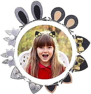Lamamamas 6 Pairs (3-12 years) Hair Clips for Girls Shiny Sequin Animal Ear Ribbon