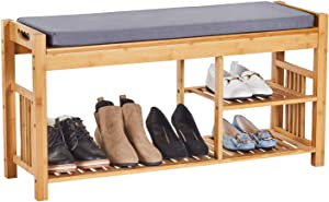 """VIAGDO Bamboo Shoe Bench with Cushion, 3-Tier Entryway Bench with Shoe Rack, Shoe Storage Bench for Bedroom and Bathroom Storage Shelf Holds Up to 396LBS, 37.8"""" L x 11.6"""" W x 19.3"""" H"""